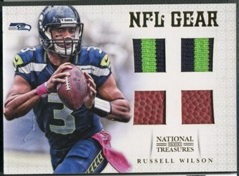 2012 Panini National Treasures #7 Russell Wilson NFL Gear Rookie Patch Ball #01/15