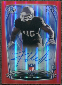 2014 Bowman Chrome #23 Khalil Mack College Red Refractor Rookie Auto #25/25