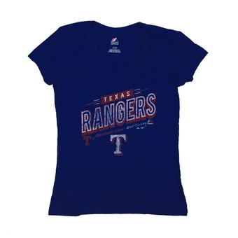 Texas Rangers Majestic Blue Season Of Memories Tee Shirt (Womens M)