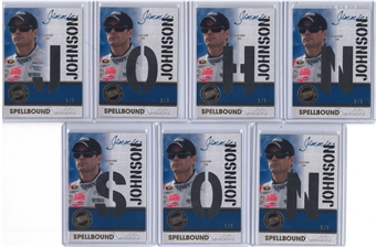 2010 Press Pass Eclipse Spellbound Swatches Gold Jimmie Johnson 7 Card 1/1 Race Used Tire Set