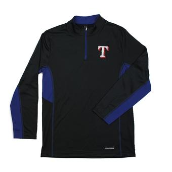 Texas Rangers Majestic Black 1/4 Zip Team Stats L/S Performance Tee Shirt (Adult XL)