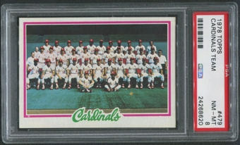 1978 Topps Baseball #479 St. Louis Cardinals Team Checklist PSA 8 (NM-MT)