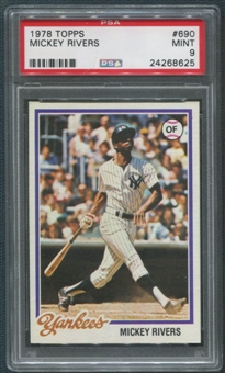 1978 Topps Baseball #690 Mickey Rivers PSA 9 (MINT)