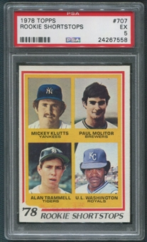 1978 Topps #707 Rookie Shortstops Mickey Klutts Paul Molitor Alan Trammell U.L. Washington Rookie PSA 5 (EX)