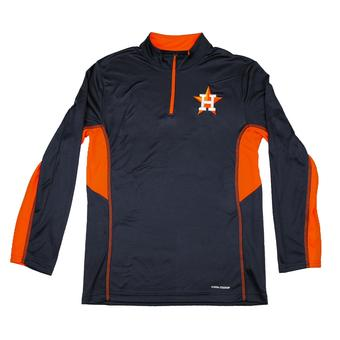 Houston Astros Majestic Navy 1/4 Zip Team Stats L/S Performance Tee Shirt (Adult M)