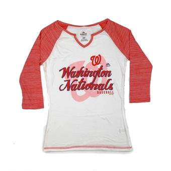 Washington Nationals Majestic Red & White Victory is Sweet 3/4 Sleeve Tee (Womens XL)