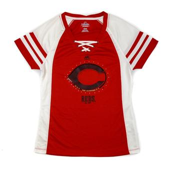 Cincinnati Reds Majestic Red Draft Me V-Neck Lace Up Tee Shirt (Womens M)