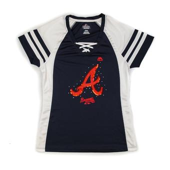 Atlanta Braves Majestic Navy Draft Me V-Neck Lace Up Tee Shirt (Womens M)