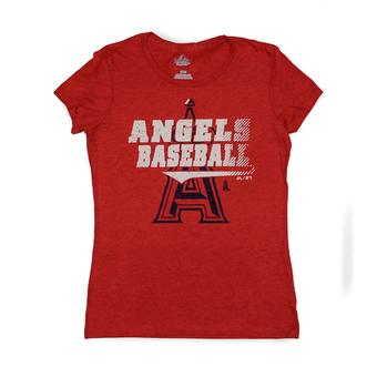 Los Angeles Angels Majestic Red Take That Dual Blend Tee Shirt (Womens L)