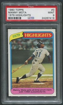 1980 Topps Baseball #3 Manny Mota 1979 Highlights PSA 9 (MINT)