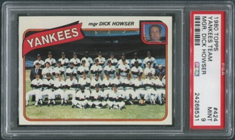 1980 Topps Baseball #424 New York Yankees Team Checklist PSA 9 (MINT)