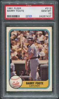 1981 Fleer Baseball #313 Barry Foote PSA 10 (GEM MT)