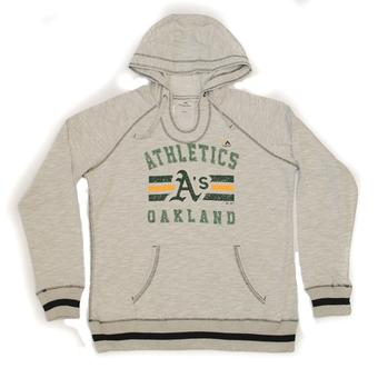 Oakland Athletics Majestic Heather Gray All Time Slugger Hoodie (Womens L)
