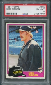 1981 Topps Baseball #315 Kirk Gibson Rookie PSA 8 (NM-MT)
