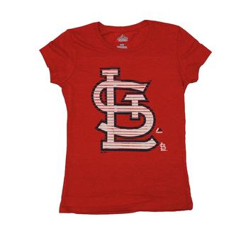 St. Louis Cardinals Majestic Red Send A Powerful Message Tee Shirt (Womens S)
