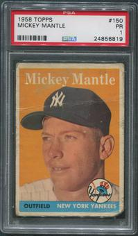 1958 Topps Baseball #150 Mickey Mantle PSA 1 (PR)