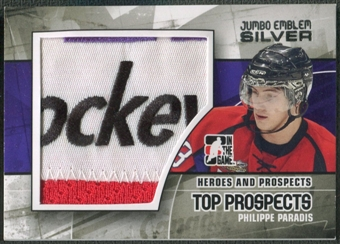 2010/11 ITG Heroes and Prospects #JM06 Philippe Paradis Top Prospects Jumbo Emblem Silver /3