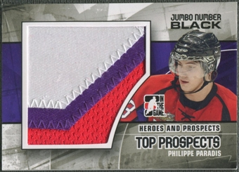 2010/11 ITG Heroes and Prospects #JM06 Philippe Paradis Top Prospects Jumbo Number Black /6