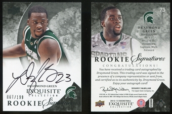 2012/13 Upper Deck Exquisite Collection #73 Draymond Green RC Auto /199
