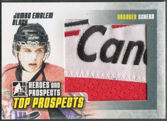 2009/10 ITG Heroes and Prospects #JM02 Brayden Schenn Top Prospects Jumbo Emblem Black /6