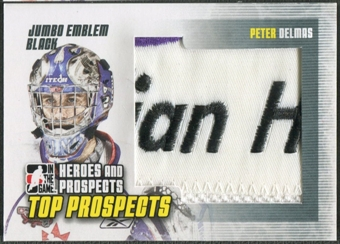 2009/10 ITG Heroes and Prospects #JM27 Peter Delmas Top Prospects Jumbo Emblem Black /6