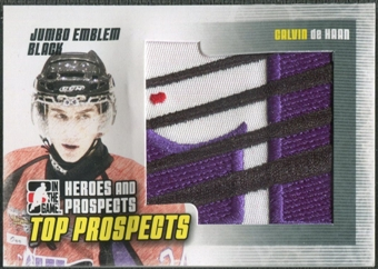 2009/10 ITG Heroes and Prospects #JM03 Calvin de Haan Top Prospects Jumbo Emblem Black /6