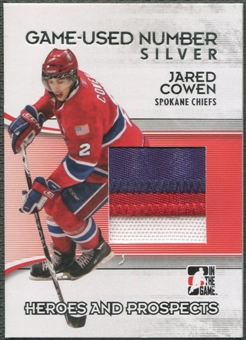 2009/10 ITG Heroes and Prospects #M37 Jared Cowen Game Used Number Silver /3
