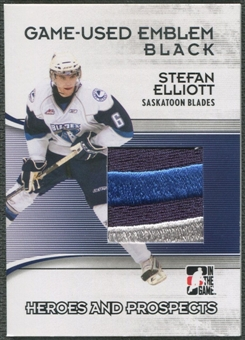 2009/10 ITG Heroes and Prospects #M36 Stefan Elliott Game Used Emblem Black /6