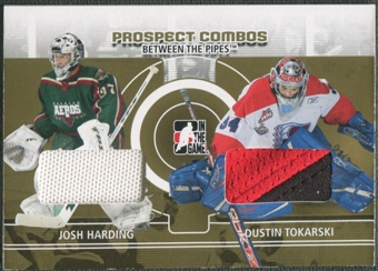 2008/09 Between The Pipes #PC08 Josh Harding & Dustin Tokarski Prospect Combos Gold Patch /10
