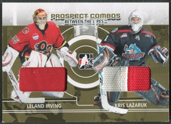 2008/09 Between The Pipes #PC12 Leland Irving & Kris Lazaruk Prospect Combos Gold Patch /10