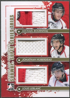 2011/12 ITG Heroes and Prospects #SST07 Michael Bournival Jonathan Huberdeau Louis Leblanc Gold Jersey /10