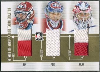 2008/09 Between The Pipes #GE01 Patrick Roy Carey Price Jaroslav Halak Goaltending Evolution Gold Jersey /10