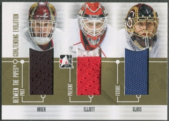 2008/09 Between The Pipes #GE02 Dominik Hasek Brian Elliott Jeff Glass Goaltending Evolution Gold Jersey /10