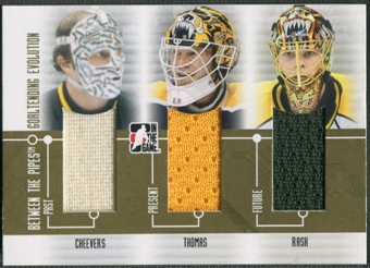 2008/09 Between The Pipes #GE04 Gerry Cheevers Tim Thomas Tuukka Rask Goaltending Evolution Gold Jersey /10
