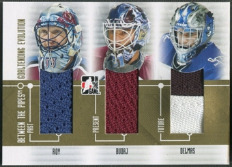 2008/09 Between The Pipes #GE05 Patrick Roy Peter Budaj Peter Delmas Goaltending Evolution Gold Jersey /10