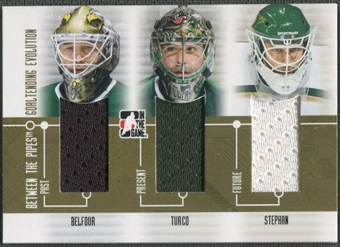 2008/09 Between The Pipes #GE06 Ed Belfour Marty Turco Tobias Stephan Goaltending Evolution Gold Jersey /10