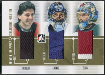 2008/09 Between The Pipes #GE09 Richard Brodeur Roberto Luongo Ellis Goaltending Evolution Gold Jersey /10