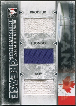 2009/10 Between The Pipes Martin Brodeur Roberto Luongo Patrick Roy International Crease Black Jersey /60
