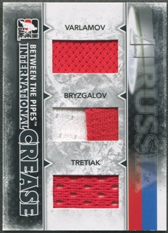 2009/10 Between The Pipes Varlamov Ilya Bryzgalov Vladislav Tretiak International Crease Black Jersey /60