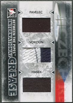 2009/10 Between The Pipes #IC6 Ondrej Pavelec Tomas Vokoun Dominik Hasek International Crease Black Jersey /60