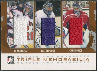 2007/08 ITG Heroes and Prospects #TM01 Al Montoya Justin Pogge Carey Price Silver Jersey /20