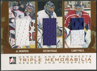 2007/08 ITG Heroes and Prospects #TM01 Al Montoya Justin Pogge Carey Price Gold Jersey /10