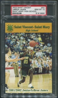 2003 Saint Vincent - Saint Mary High School #4A Lebron James Rookie PSA 10 (GEM MT)