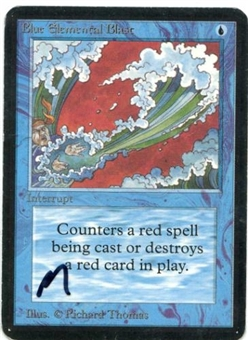 Magic the Gathering Alpha Single Blue Elemental Blast MODERATE PLAY (VG/EX)