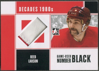 2010/11 ITG Decades 1980s #M65 Reed Larson Game Used Emblem Black /6