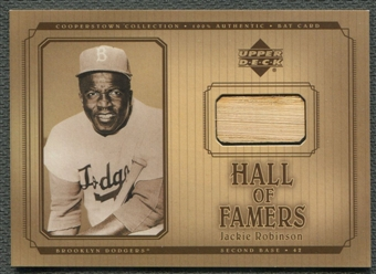 2001 Upper Deck Hall of Famers #BJR Jackie Robinson Game Bat SP /371