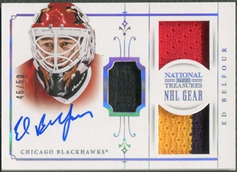 2013-14 Panini National Treasures #18 Ed Belfour NHL Gear Patch Auto #46/50
