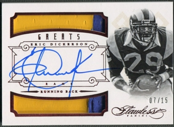 2014 Panini Flawless #22 Eric Dickerson Greats Ruby Dual Patch Auto #07/15