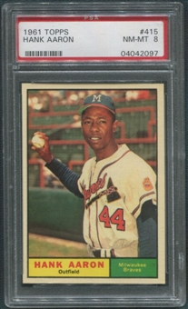 1961 Topps Baseball #415 Hank Aaron PSA 8 (NM-MT)
