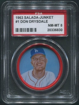 1963 Salada Junket Coins Baseball #1 Don Drysdale PSA 8 (NM-MT)